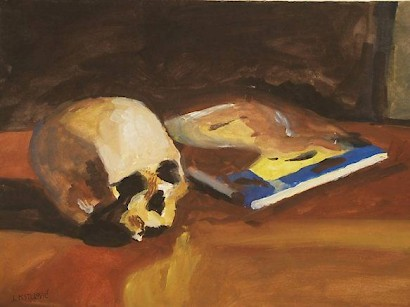 Skull and Book, tempera on paper, 44 x 59 cm, 1986