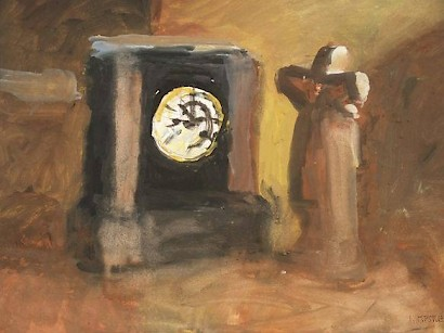Old Clock with a Statue, tempera on paper, 47,5 x 68 cm, 1986