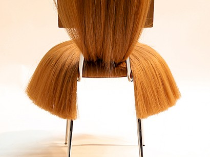 Dejana Kabiljo, PRETTY barbarina, chair blonde horsetail on wood, vintage steel base