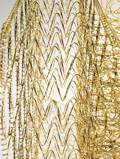Dejana Kabiljo, Au, the golden armchair, detail, from the Fe / Zn / Au collection 105 cm x 80 cm x 76 cm 24 carat gold on iron spring wire
