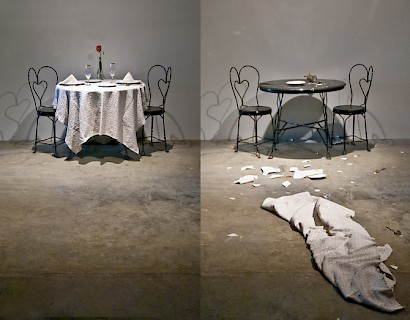 Dinner for Two, 2011. Elmgreen and Dragset for DO IT Exhibition curated by Cortney Stell, Denver CO.