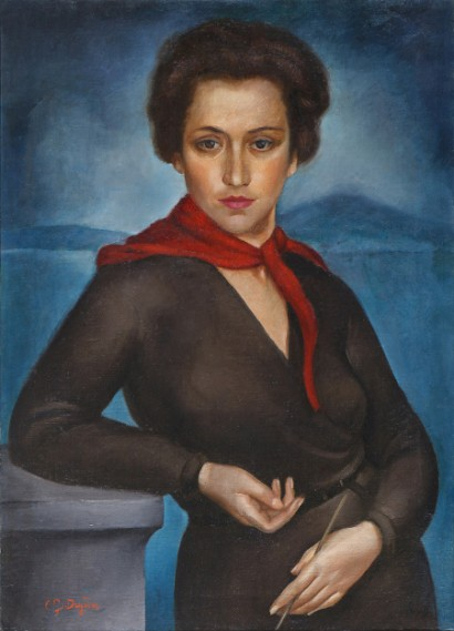 Cata Dujšin-Ribar, Self-portrait with Red Scarf, 79,5 x 58 cm, oil on canvas, 1930