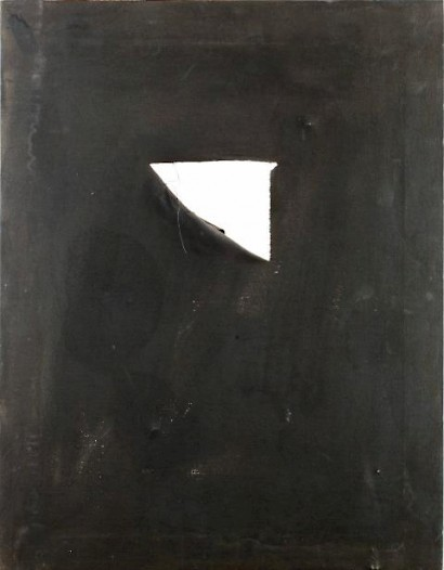 Goran Fruk, The Hole, 70 x 60 cm, dye and hole on canvas, 1992