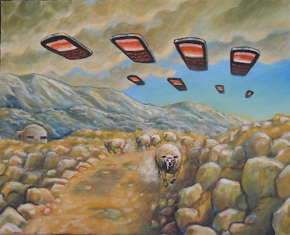 Vinko Barić, Unidentified Flying Mobile Phones in Dalmatian Hinterland, acrylic on canvas, 2017